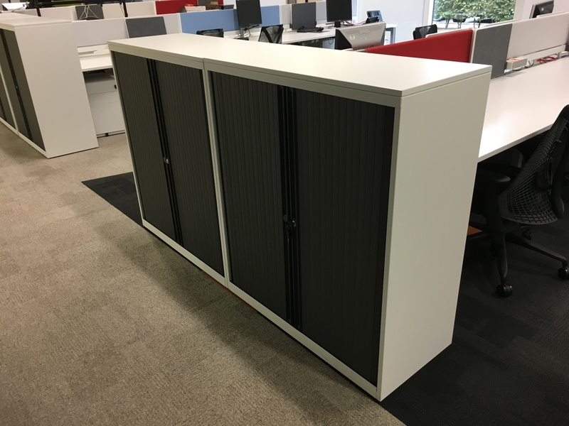 1180mm high Bisley white metal tambour cupboards