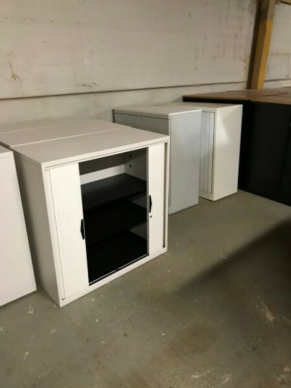 1000mm high white tambour cupboard