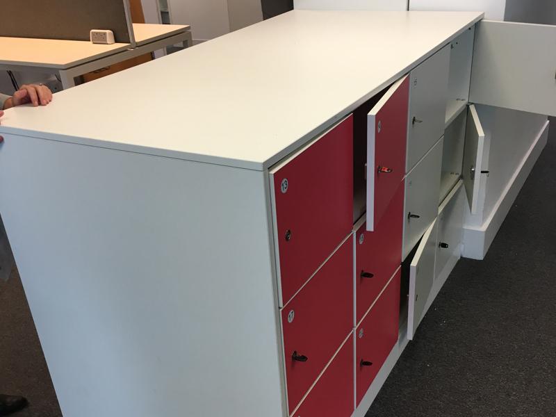 24 door white amp pink locker unit