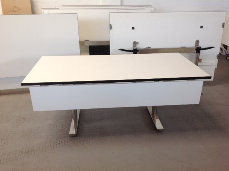 1800 x 900mm white top tilt conference tables (CE)