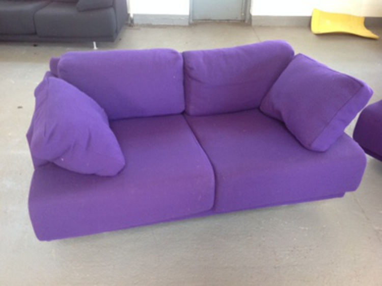 Purple two seater sofa