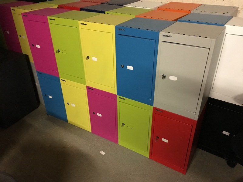 Bisley multi-coloured metal lockers (per double upright)