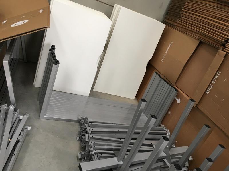 White 1200 amp 1400mm bench desks