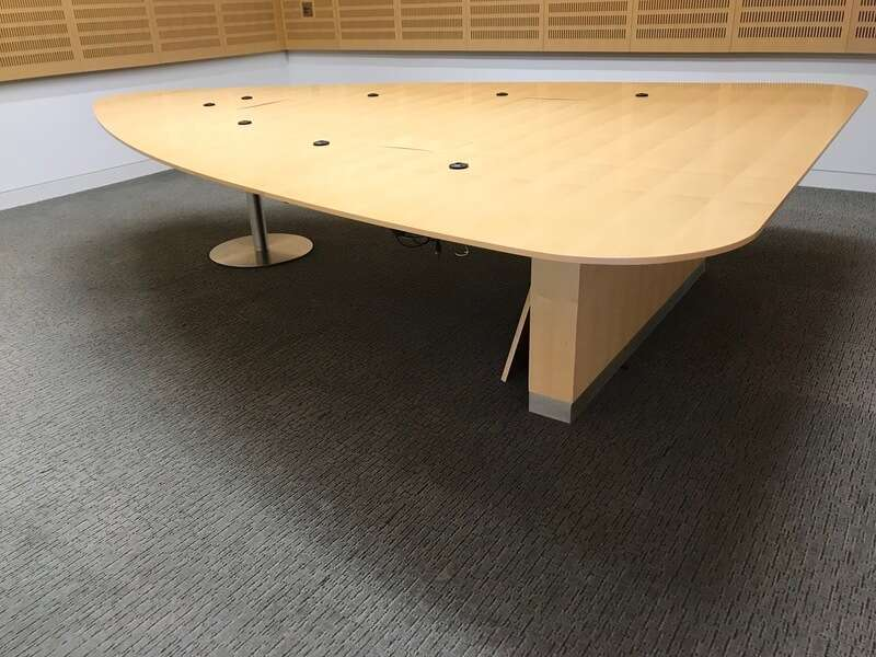3300x2500mm Luke Hughes maple veneer triangular table