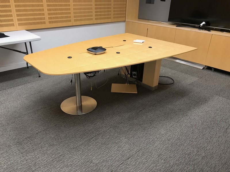 2200x1500mm Luke Hughes maple veneer triangular table