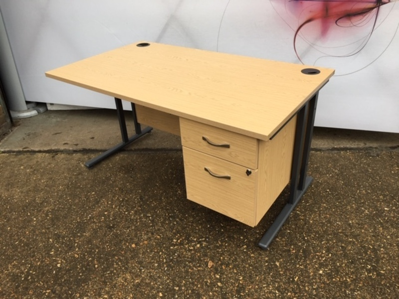 Dams oak 1400mm desk with fixed pedestal