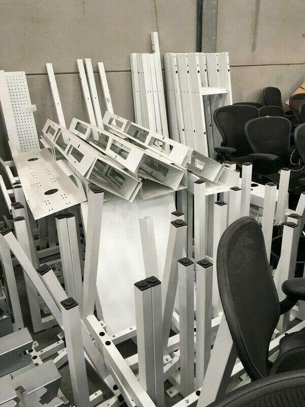 1600x800mm oak bench desks with white frames