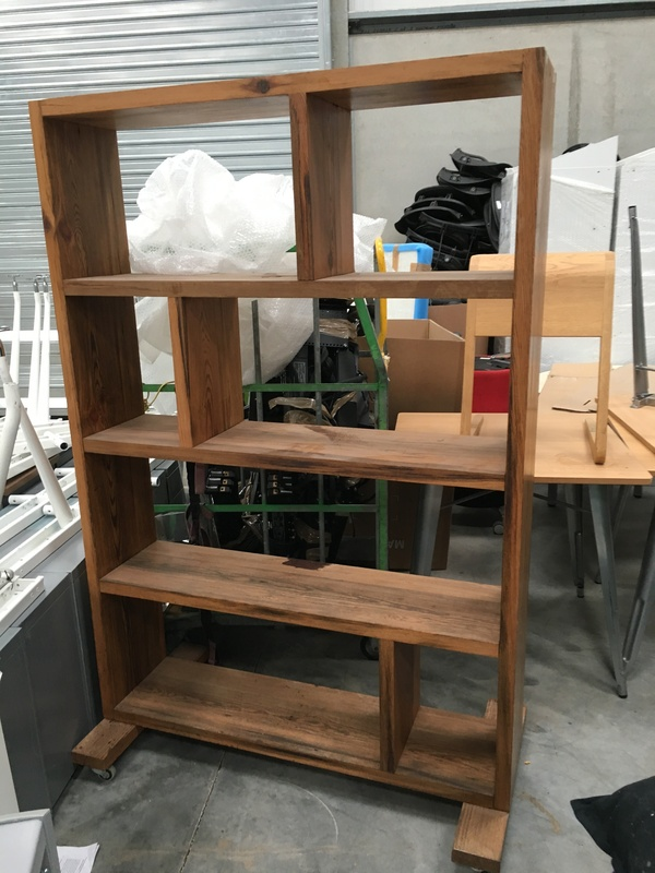 Rustic wood mobile bookcase