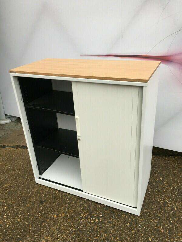 1100mm high Triumph white/oak tambour cupboard