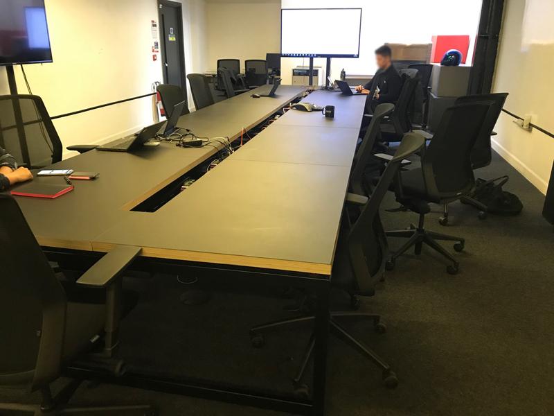Black plywood 8 person bench desk