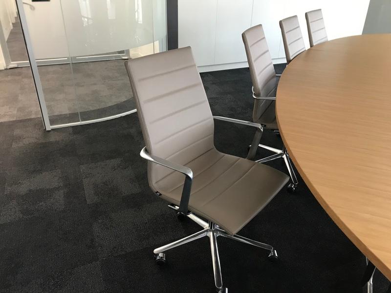 Mushroom leather ICF Una Executive task chairs