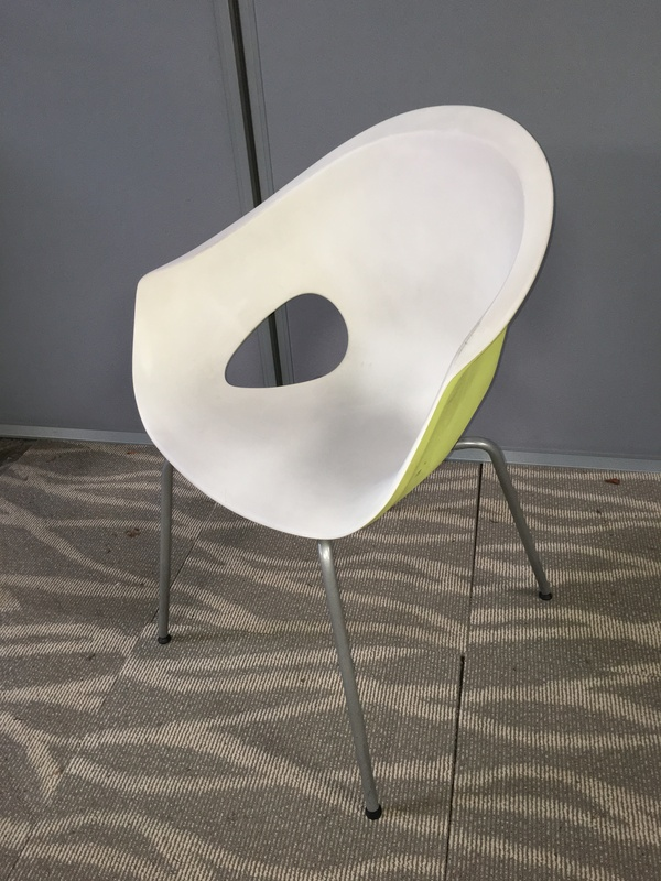 Connection white/lime green plastic armchair