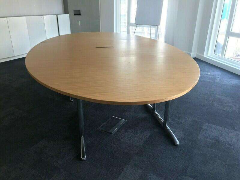 4200x2400mm oval oak veneer table