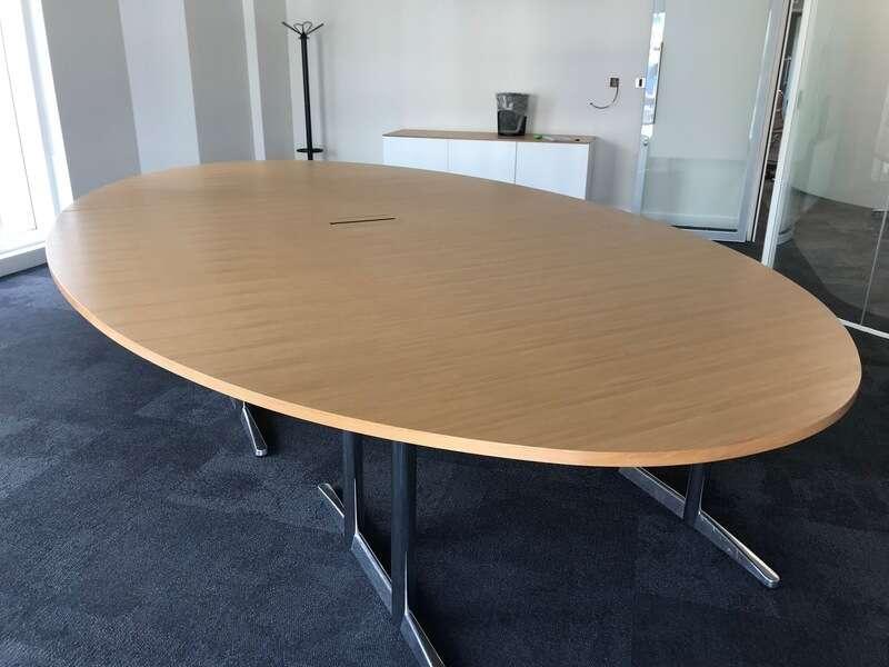 4200x2400mm oval oak veneer table
