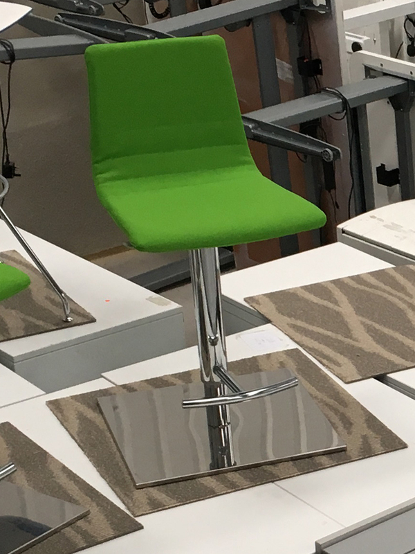 Green fabric stools