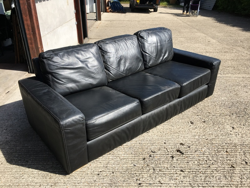 Siren Furniture black leather 3 seater sofa