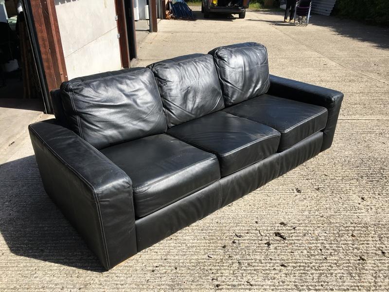 Siren Furniture black leather 3 seater sofa