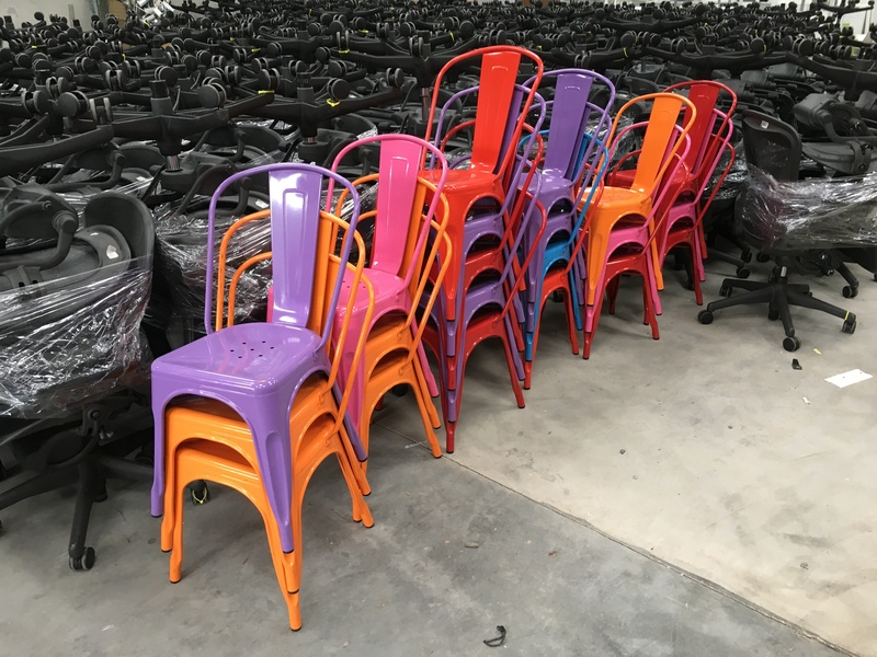 Multi coloured Talix metal stacking chairs