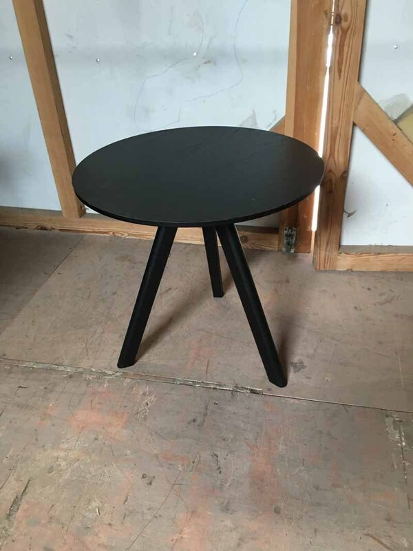 Black ash tripod coffee table