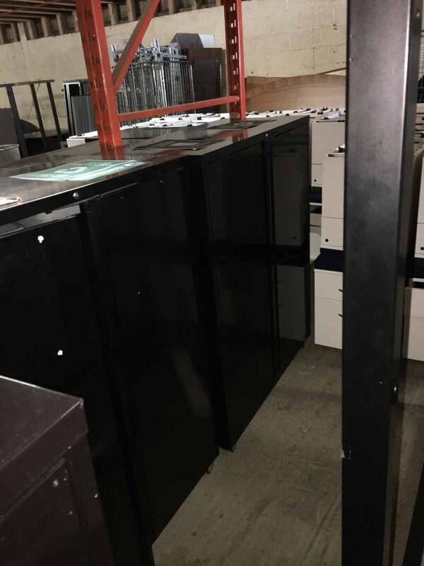 Black metal double door recycling/bin mobile cupboards