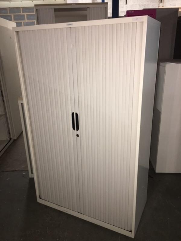 1650mm high cream Bisley tambour cupboards