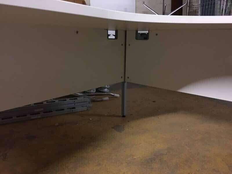 White 1800x1200mm radial desk and pedestal