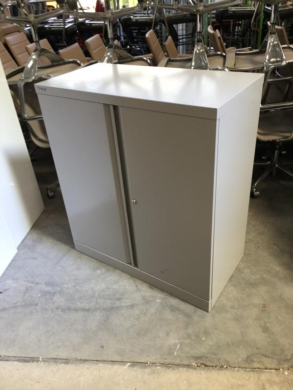 1020mm high grey Bisley metal double door cupboards