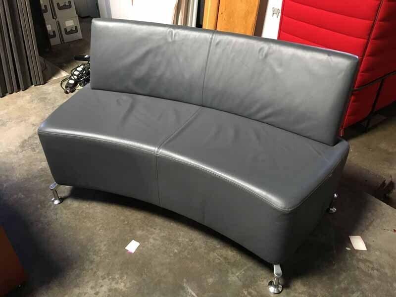 Grey leather Orangebox Perimeter 2 seater sofas