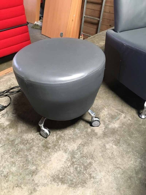Grey leather Orangebox Point mobile stools