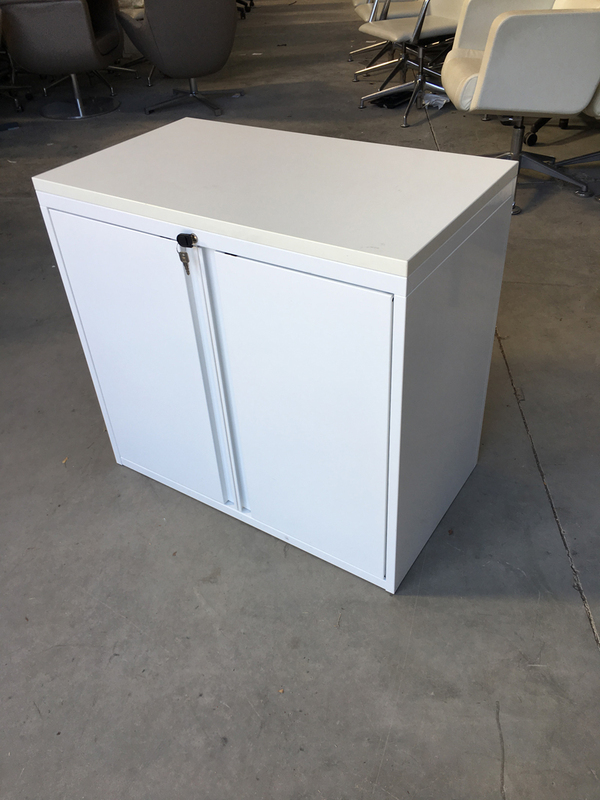 White desk high cupboards with wooden top