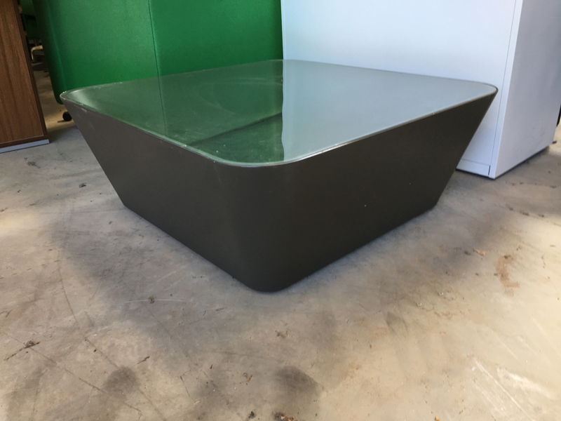 Glass cone shape square coffee table