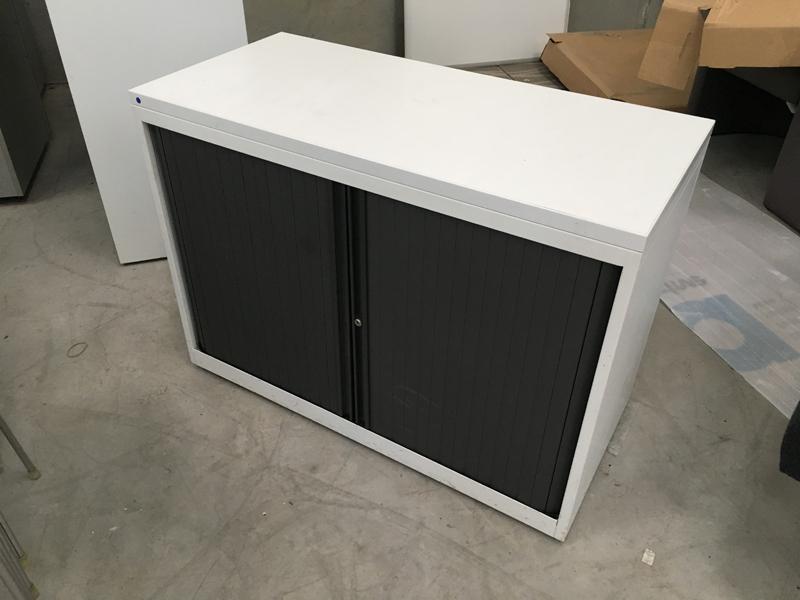 Desk high Bisley white metal tambour cupboard