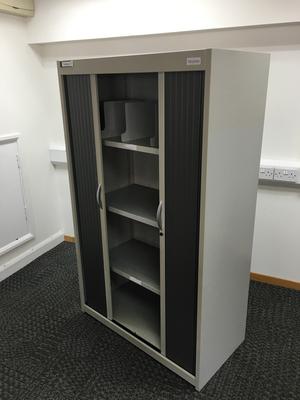 Grey 1650mm high Flexiform tambour cupboards
