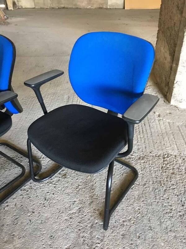Black amp blue Orangebox Joy stacking meeting chairs