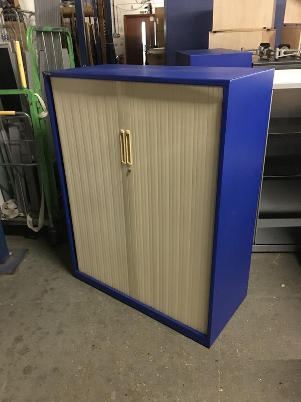 1280mm high blue cream Triumph tambour cupboard
