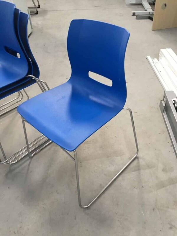 Blue Allermuir Casper plastic stacking chairs