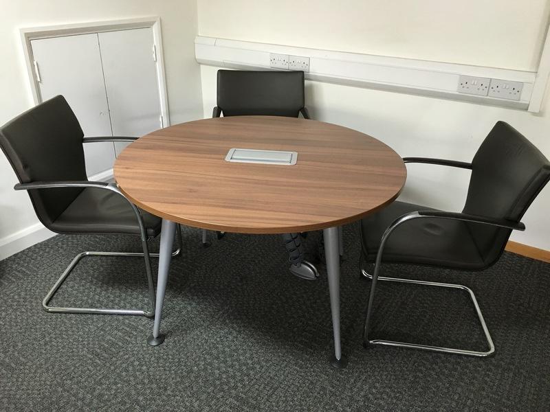 circular walnut table