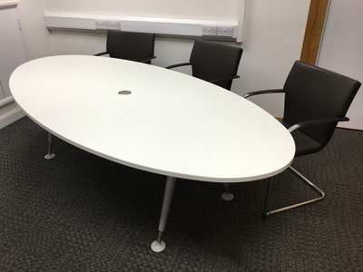 2400x1200mm white oval meeting table (CE)