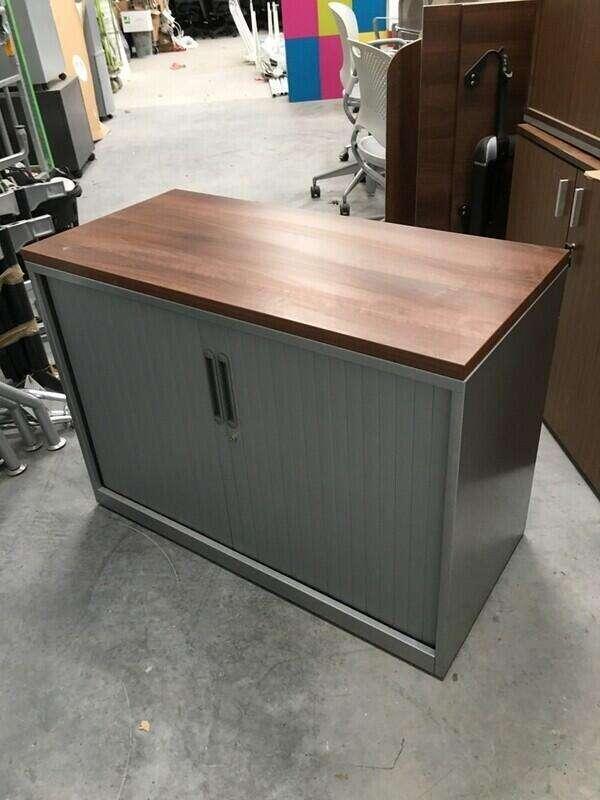 1210mm high Triumph silver/walnut tambour cupboard