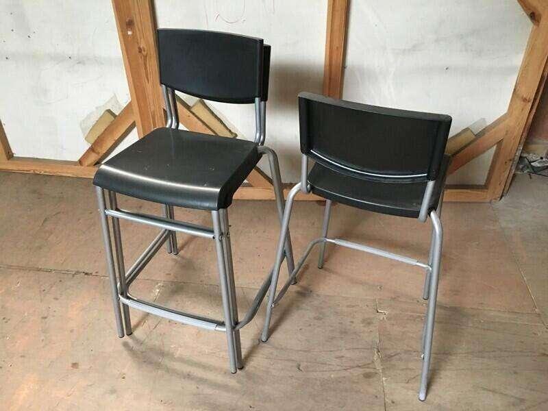 Black Ikea STIG bar stools