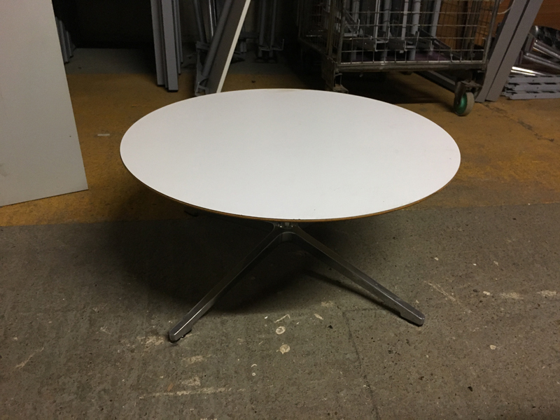 Allermuir white 750mm diameter coffee table