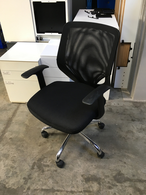 Black mesh back operator chair