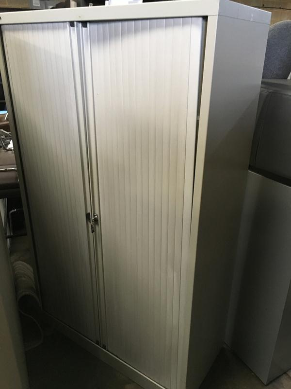 1650mm high Bisley grey tambour cupboards