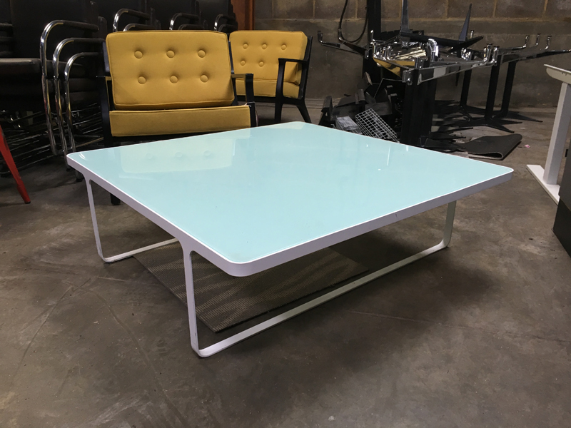 1100mm square glass coffee table