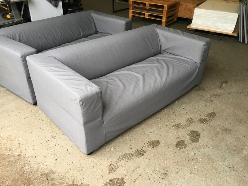 Loose cover grey fabric 2 seater sofas