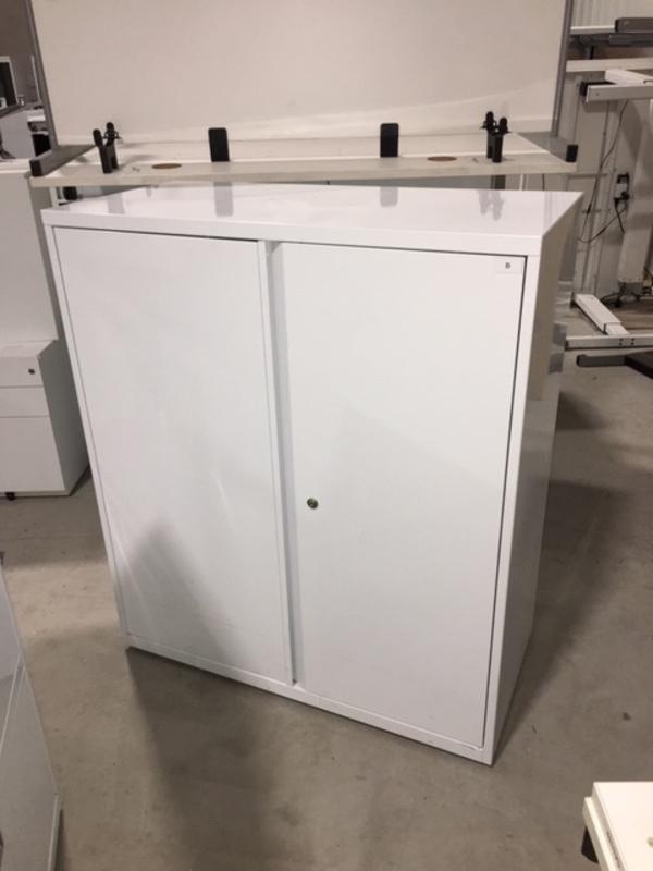 White 1155mm high double door cupboards