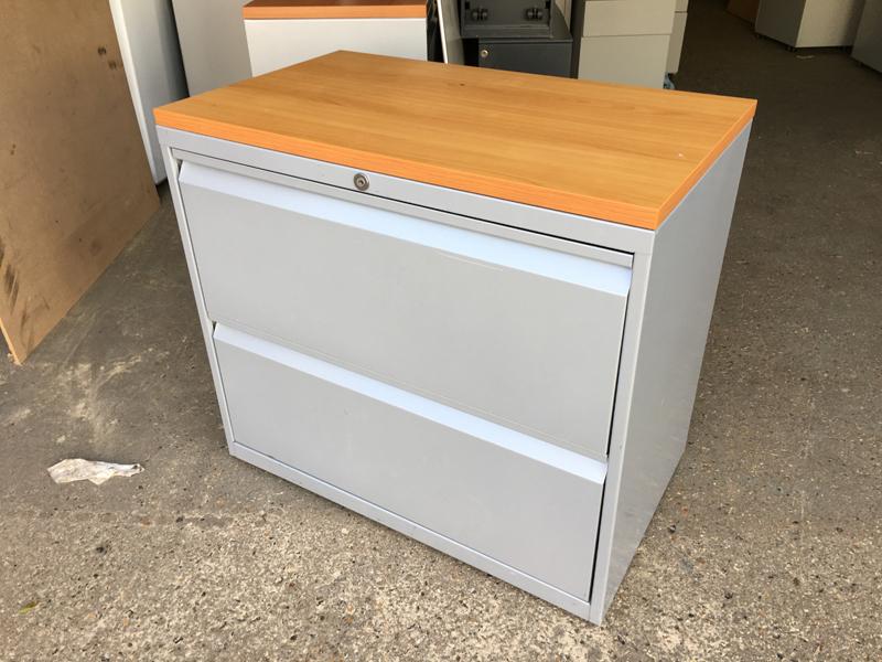 Silver/cherry Bisley 2 drawer side filer