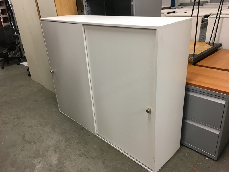1290mm high white sliding door cupboard