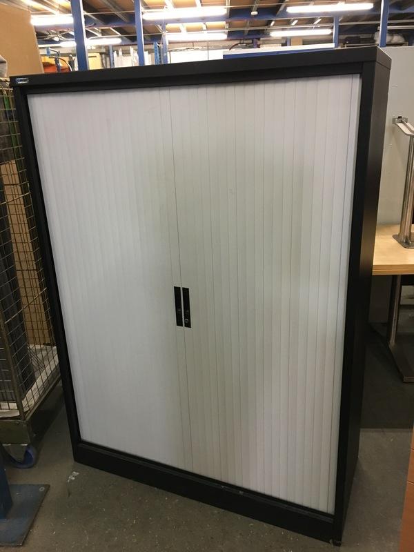 1650mm black Silverline tambour cupboards