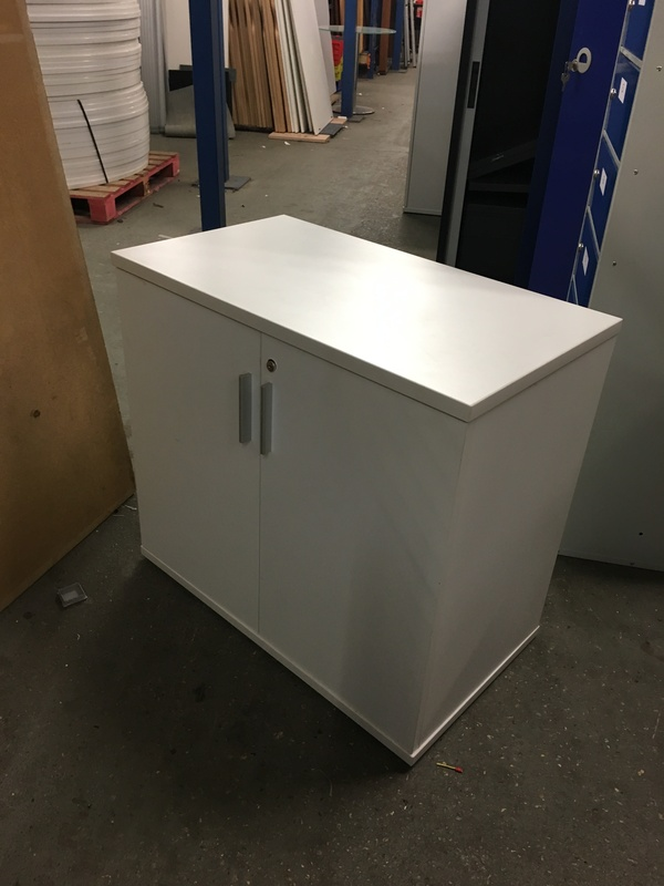 Desk high white double door cupboard